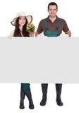 男性和女性花匠纵向  免版税库存照片