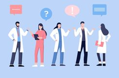 男性和feamle医生谈话与患者 医疗保健服务,要求医生 制服的治疗师有听诊器的 向量例证