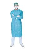男性外科医生洗刷制服 库存图片