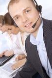 男性客户服务代表特写镜头  免版税图库摄影