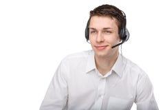 男性客户服务代表或电话中心画象  免版税库存图片
