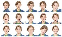 男性少年画象的汇集 图库摄影