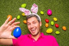男性庭院鸡蛋 免版税库存照片