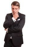 男性式样想法的姿态,隔绝在白色背景 免版税库存照片