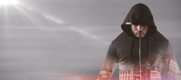 男性强盗的综合图象黑有冠乌鸦身分的 免版税库存图片