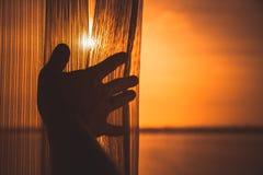 男性手打开窗口的薄纱 库存照片