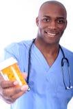 男性护士药片 库存图片