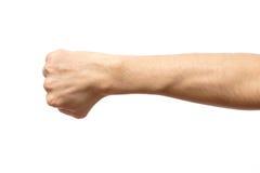 男性握紧了在白色隔绝的拳头 库存照片