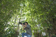 男性摄影师在竹森林里 库存照片
