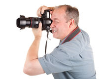 男性摄影师射击某事 免版税图库摄影