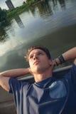 年轻男性放松 图库摄影