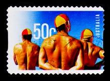 男性救生员,海浪救护设备serie,大约2007年 免版税库存照片
