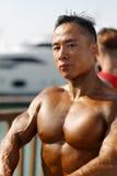 男性爱好健美者展示他的大胸肌 免版税图库摄影