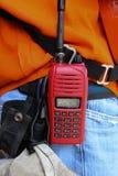 男性特写镜头与携带无线电话的 免版税库存图片