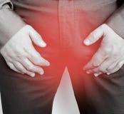 男性症状困厄前列腺炎病态的警告耐心综合症状 免版税库存图片
