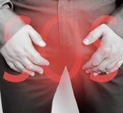 男性症状困厄前列腺炎警告耐心综合症状 免版税图库摄影