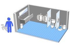 男性的洗手间内部与3d设施导航例证 免版税库存照片
