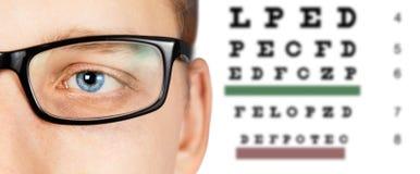 男性眼睛和眼力测试 免版税库存照片