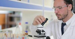 男性科学家与看在实验室佩带的白色外套和防护玻璃的显微镜一起使用试管 股票视频