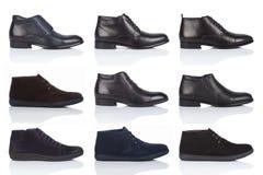男性穿上鞋子在白色背景的汇集,与光滑的表面上的一个阴影 正面图 9个片断 库存图片
