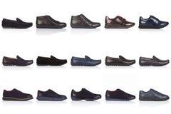 男性穿上鞋子在白色背景的汇集,与光滑的表面上的一个阴影 正面图 15个片断 免版税库存图片