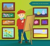 男性艺术家绘画在他的工作室 向量 库存图片