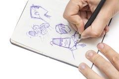 男性设计师图画字符 向量例证
