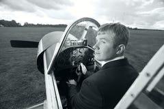 男性试验小飞机 库存图片