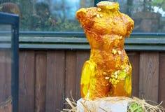 男性躯干从一个大橙色南瓜被雕刻 库存图片
