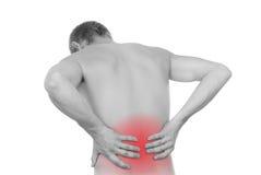 男性躯干,在腰部的痛苦 免版税库存照片