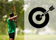男性运动员实践的射箭 库存图片