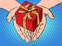 男性递心脏形状礼物盒 向量例证