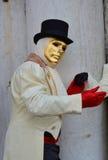 男性金黄面具在威尼斯,意大利,欧洲 免版税库存图片