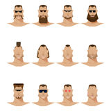 男性面孔髭和胡子和太阳镜,平的样式 免版税库存图片
