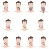 男性面孔髭和胡子平的样式 库存照片