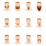 男性面孔髭和胡子平的样式 免版税库存图片