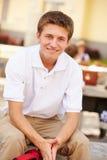 男性高中学生佩带的制服画象  库存图片