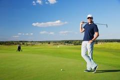 男性高尔夫球运动员画象  图库摄影