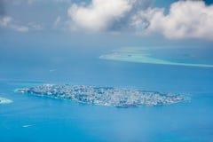 男性,马尔代夫的首都鸟瞰图  免版税图库摄影