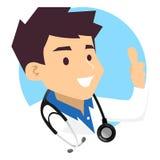 男性医生做好手标志的Icon 免版税库存照片