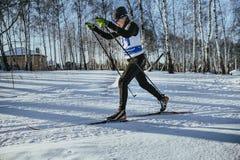 男性滑雪者中年经典样式在体育的冬天森林赛跑 免版税库存图片