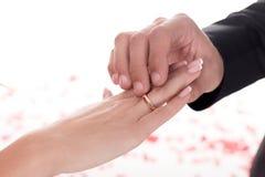 男朋友佩带的圆环的播种的图象在女朋友手指的在白色,情人节概念 免版税图库摄影