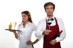 男服务员和女服务员 免版税库存照片