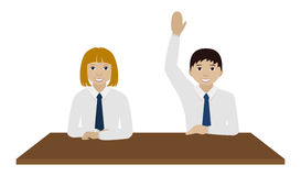 男生和gril在一张书桌在教室传染媒介 免版税库存照片