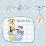 男婴与玩具的阵雨卡片 免版税库存照片