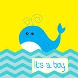 男婴与逗人喜爱的鲸鱼的阵雨卡片 库存照片
