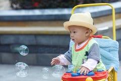 男婴儿童车覆盖illusytration星期日 免版税库存图片