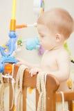 男婴儿童车覆盖illusytration星期日 免版税图库摄影
