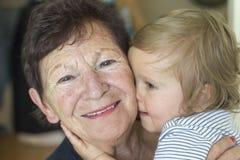 男婴和祖母 图库摄影