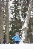 男婴在冬天漫步在杉树中的雪森林里 男孩我 免版税库存照片